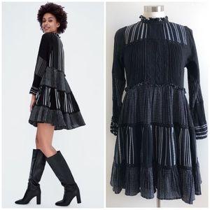 Zara | Tiered Mock Neck Babydoll Dress